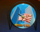 Twin Towers 9-11  Recycled CD Clock