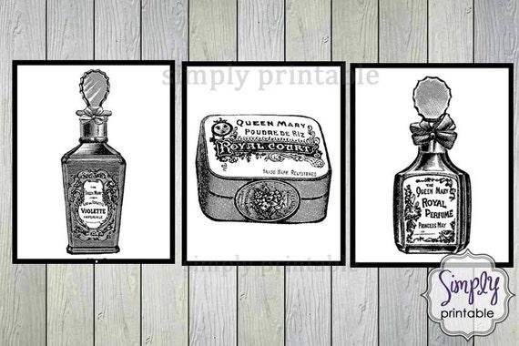 3 Printable 8x10 Digital Wall Prints French Perfume & Soap