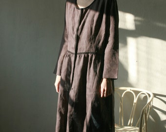 Dark brown, black natural thin linen cardigan/dress