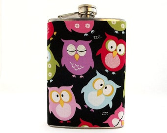 Owl Liquor Flask - Colorful Hooties Flask - 6 oz Stainless Steel - Hip Flask - Flask for Women