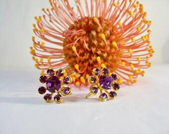 Vintage Designer Earrings by Coro Purple Rhinestone Screw Backs 1940's Gold Tone Metal