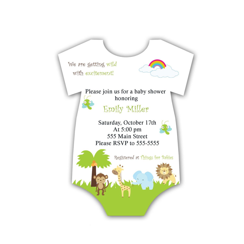 Baby Shower Invitation Card Jungle Jumpsuit Uni Baby