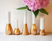 Gold Dipped Milk Glass Vase - Set of 5 vases - vintage wedding