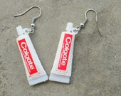 Vintage TOOTHPASTE Earrings....dangly. cute. kitschy. vintage charms. colgate. charm earrings. retro. kitsch jewelry. toothbrush. toothpaste