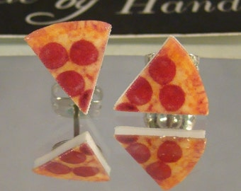 Pepperoni Pizza Slice Stud Earrings