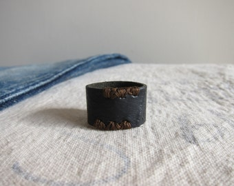 Black Leather Ring with Brown Stitching