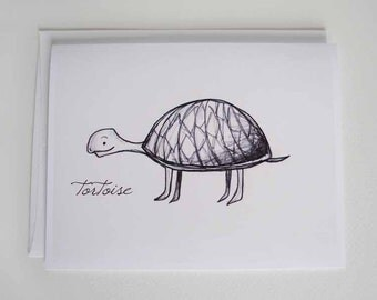 Blank A2 Note Card - Tortoise Sketch