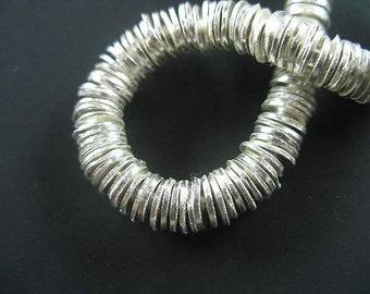 20 of Karen Hill Tribe Silver Half-Brushed Disc Beads 6.5x0.7mm.. :ka3567