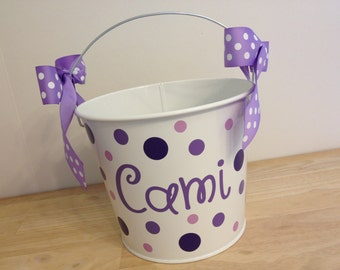 Personalized Easter basket, 5 quart metal bucket, name or monogram, other colors available, Easter, Halloween, Baby, Birthday