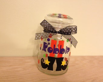 Personalized candy jar - Halloween Witch feet, name or monogram, polka dots - Great teacher or Hostess gift