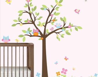 Children Wall Decals Nursery-Tree with Owls Birds Flowers-Baby Girls Nursery Decals