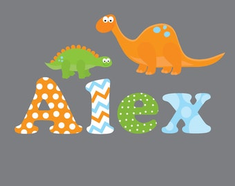 Children Wall Decals For Nursery-Name with Dinosaurs