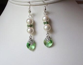 Peridot Swarovski Crystals and Pearls - Dangle Earrings in Green Peridot, Wedding, Bridal, Bridesmaid, Prom, Formal, Elegant