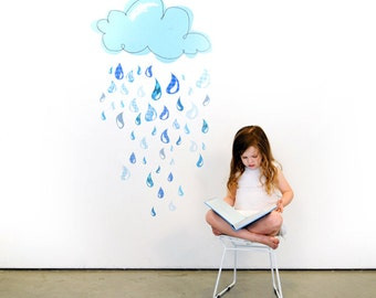 Rainy Day Drops Eco-Friendly Reusable Fabric Wall Decals by Pop & Lolli