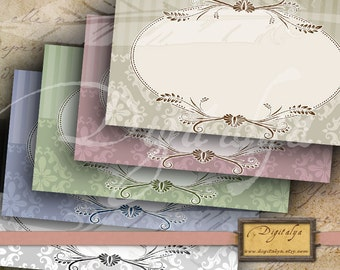 CHANTILLY BLANK LABELS & Tags - 5 Different Colors Digital Printable Collage Sheets - Buy 3 Get 1 Extra Free - Instant download