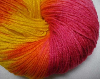 Sock Yarn - Superwash Merino and Nylon in Bright Yellow, Hot Pink and Orange