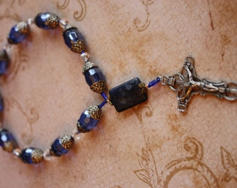 Rosary Chaplet in Lovely Blue Crystals with Antiqued Silvertone Fancy Beadcaps and Crucifix