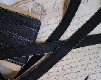 Very old rare French ANTIQUE BLACK with silver METALLIC ribbon, 1 yard with more available