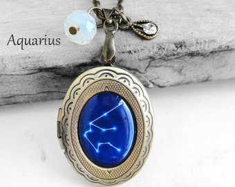 """Get 15% OFF - Handmade Resin """"Aquarius"""" Constellation Sign Antique Bronze Oval Photo Locket Pendant Necklace - Mother's Day SALE 2017"""