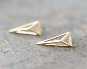 3D Triangle Earrings