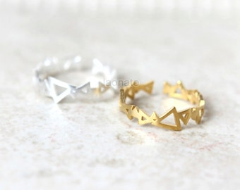 Triangles Ring, Adjustable ring - Choose your color, gold and silver