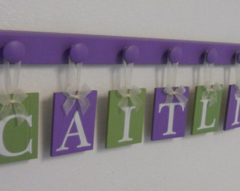 Purple Green Baby Girl Nursery Custom Name Sign includes Lilac Wooden Hangers Painted Light Green, Lilac
