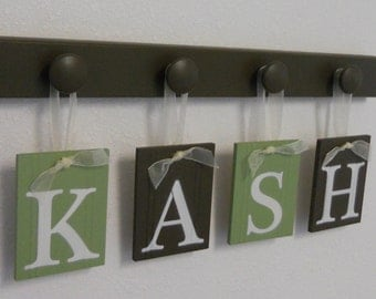 Personalized Children Decor Wooden Letters Includes Peg Hooks and Custom Baby Name Painted Light Green and Chocolate Brown