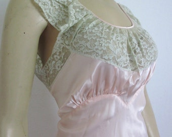 30s/40s Vintage Satin Lace Negligee Nightgown Ensemble Mint medium