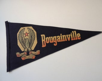 Rare Felt Wool Pennant from Bougainville British Solomon Islands / Military Pennant / WWII Memorabilia / Pennant / Military Banner