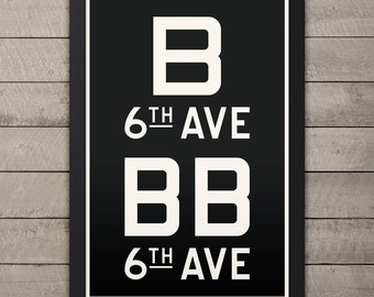 BROOKLYN & MANHATTAN (6TH Ave) New York City Subway Sign. Bus Scroll. 12 x 18 Rollsign Print