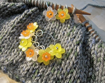 Stitch Markers, Daffodil and Narcissus, set of 6
