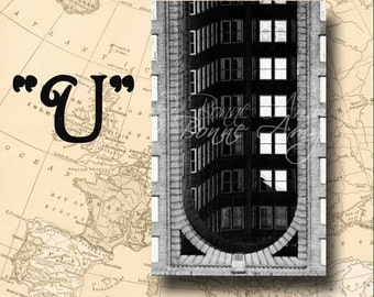 Letter U Alphabet Photography Black and White or Sepia 4 x 6 Photo Letter Unframed
