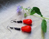 VOVO African red Mali wedding rare boho earrings by Fianaturals
