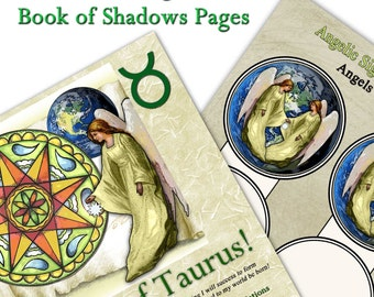Angels of Taurus Digital Art Book of Shadows Pages Two Sigils and Correspondences  Perfect for Moon Magick