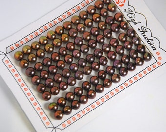 A pair: 7mm half drilled freshwater pearl, button pearls for making post earrings, grade AAA , 19 gauge hole, mystic brown color