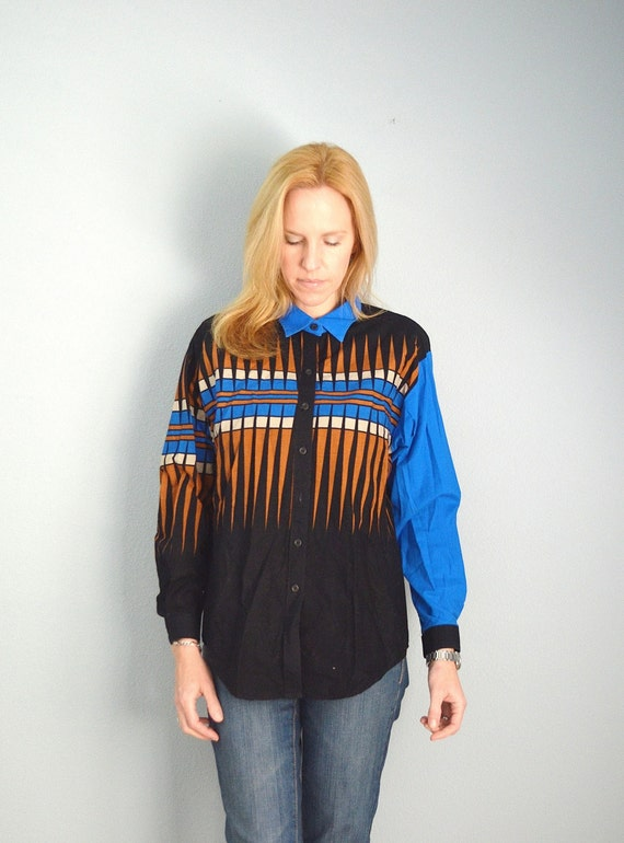 25% off One Day SALE! Vintage 80s Brooks and Dunn Southwestern Blue Black Geometric Country Western COWGIRL Blouse Shirt // womens medium