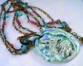 Sweden Spirit Wolf Totem Cyan Porcelain Pendant Necklace - Double Brass Chain, Ice Blue Glass Chunks, Rose Crystals