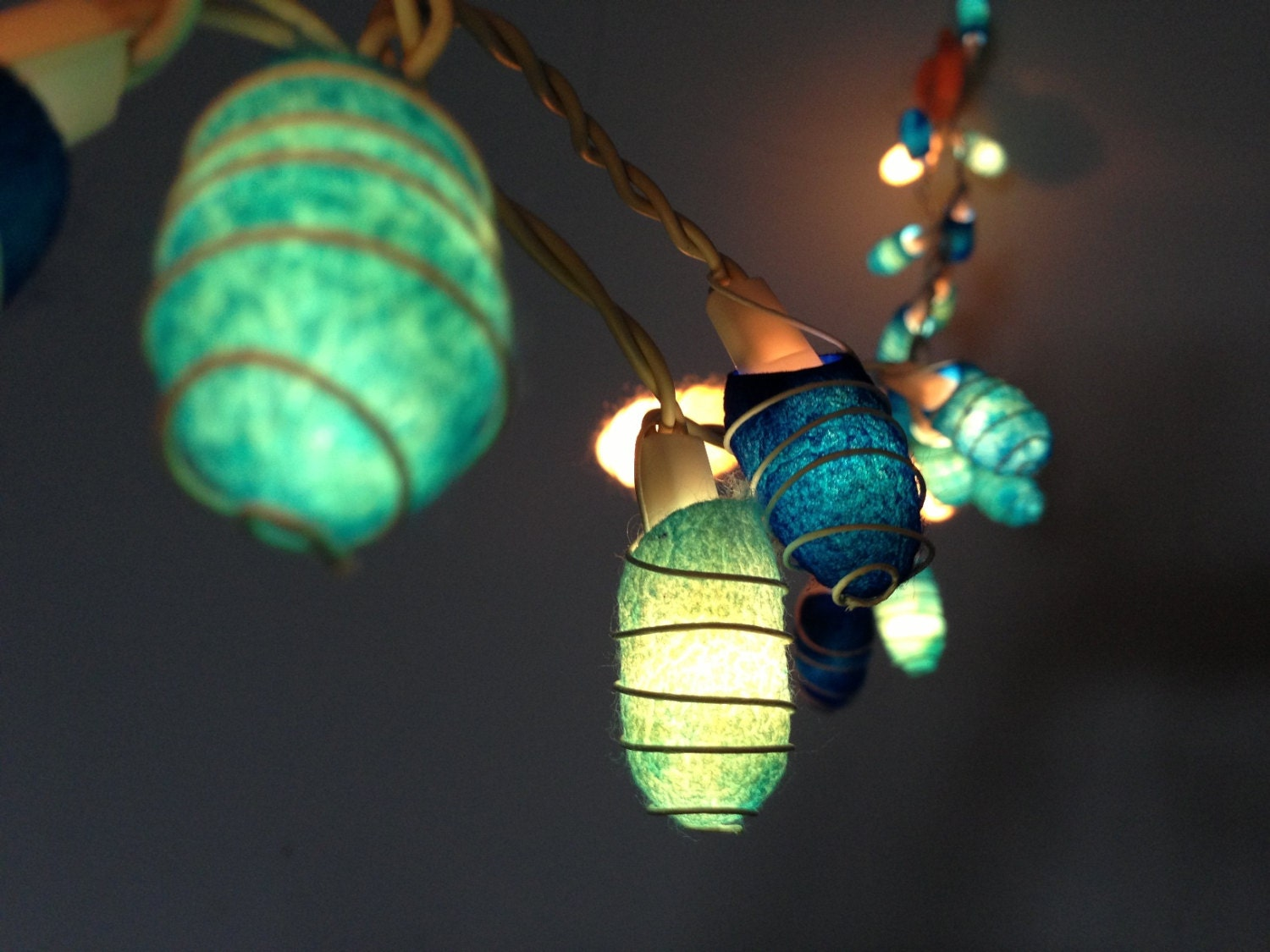 Monkey Party String Lights : 35 bulbs Handmade Ocean Blue Cocoon string lights for