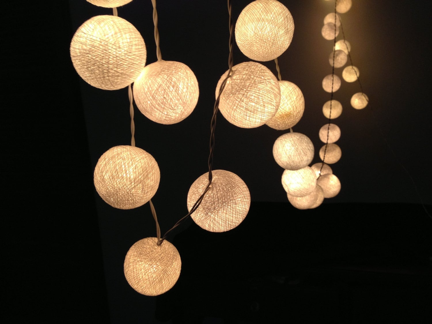 35 bulbs white cotton ball string lights for. Black Bedroom Furniture Sets. Home Design Ideas