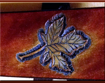 MAPLE LEAF Design • A Beautifully Hand Sculpted, Completely Hand Crafted Leather Guitar Strap
