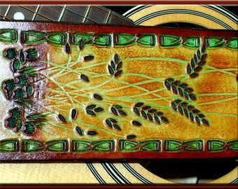 BAMBOO Border & WHEAT Design • A Beautifully Hand Tooled, Hand Crafted Leather Guitar Strap