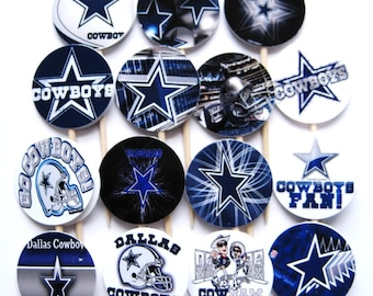 15 Dallas Cowboys Football Party Picks - Cupcake Toppers - Toothpicks - Food Picks - die cut punch FP370