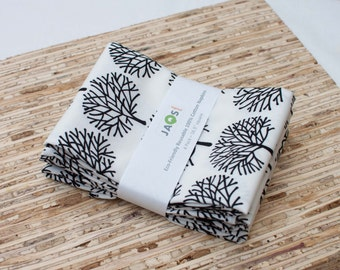Large Cloth Napkins - Set of 4 - (N1617) - White Forest Tree Modern Reusable Fabric Napkins