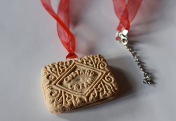 Fimo Custard Cream Biscuit Pendant Necklace on Organza Ribbon - Realistic. Polymer Clay Edible Jewellery
