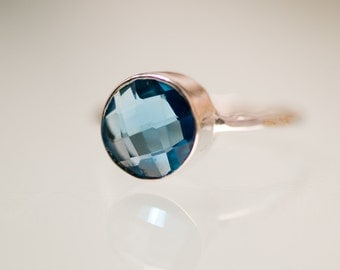 London Blue Topaz Ring Silver- December Birthstone Ring - Stackable Stone Ring - Stacking Ring - Sterling Silver Ring - Round Ring