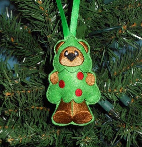 Items Similar To In The Hoop Christmas Tree Bear Ornament Embroidery Machine Design On Etsy