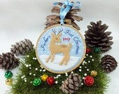 Personalized ornament, Christmas ornament, Baby's First Christmas ornament, deer and snow holiday decor, christmas keepsake for boy or girl