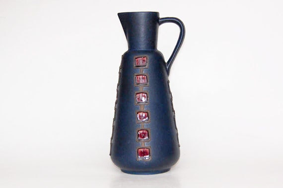 Vintage German Dark Blue Vase with Geometric Red Glaze Motif - 60s
