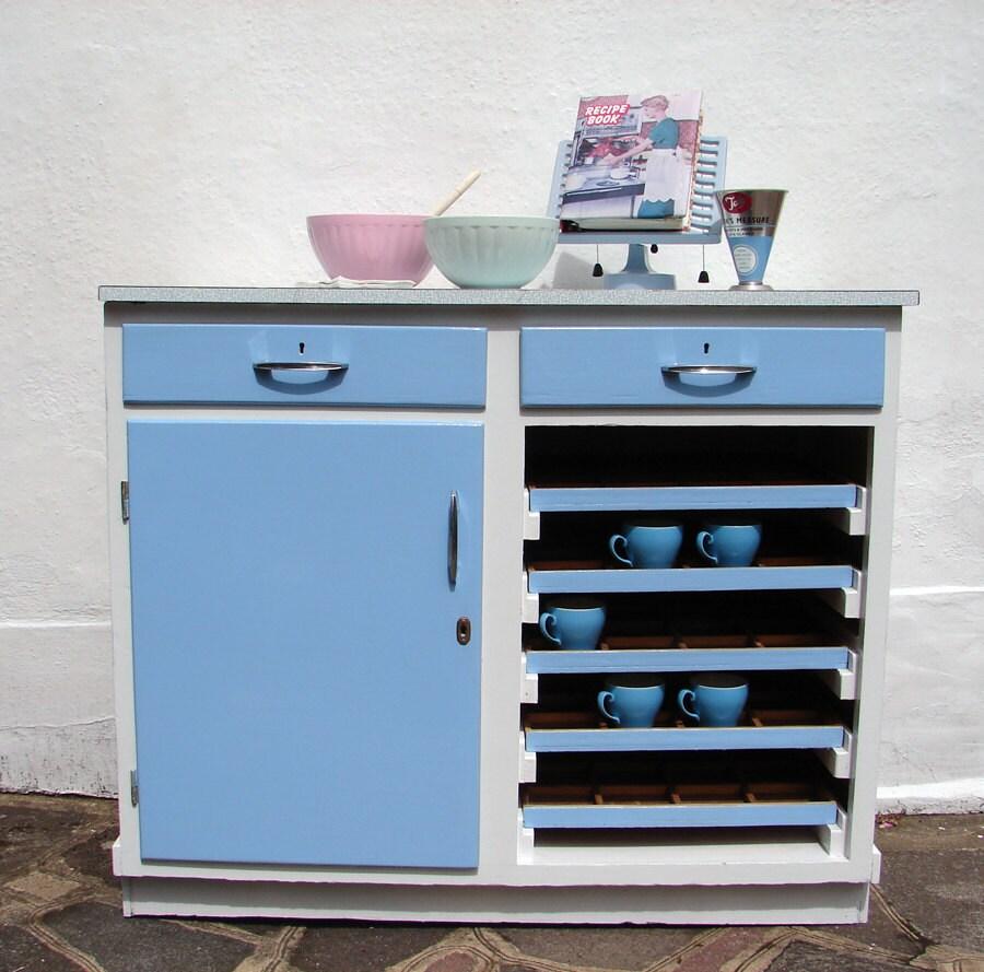 1950s Kitchen Cabinet: 1950's Vintage Kitchen Cabinet Baby Blue Formica Top