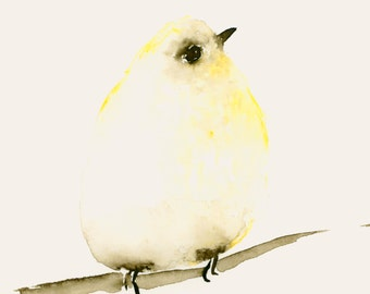 Lemon Yellow Tiny Bird Watercolor Giclee Print from  Original Artwork